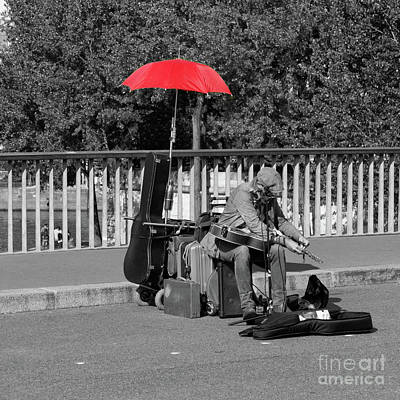 Photograph - The Busker With The Red Umbrella by Lynn Bolt