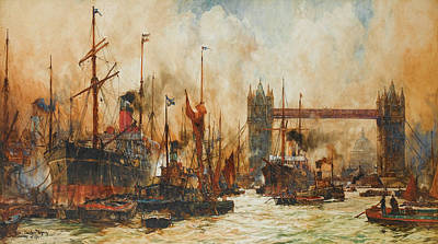 Tower Of London Wall Art - Painting - The Bustling River Below Tower Bridge by Charles Edward Dixon