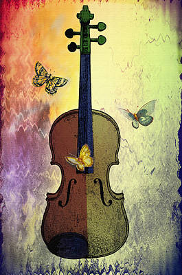 Violin Digital Art - The Butterflies And The Violin by Bill Cannon