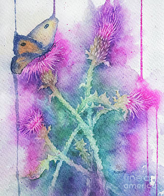 Painting - The Butterfly And The Thistles by Rebecca Davis