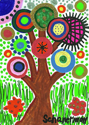 Uplifting Drawing - The Button Tree by Susan Schanerman