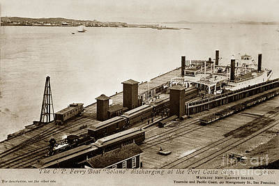 Photograph - The C. P. Ferry Boat Solano Discharging At The Port Casta Slip 1879 by California Views Archives Mr Pat Hathaway Archives