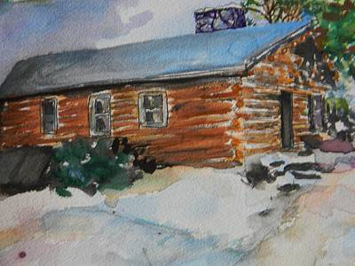 Log Cabins Mixed Media - The Cabin We Grew Up In by Emily Michaud