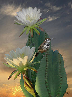 Painting - The Cactus Wren by IM Spadecaller