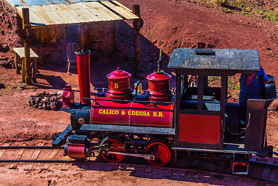 Narrow Gauge Engine Photograph - The Calico Odessa Riding The Rails by Garry Gay
