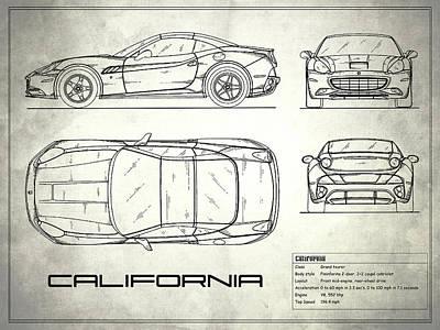 The California Blueprint - White Art Print by Mark Rogan
