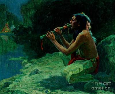 Oneida Painting - The Call Of The Flute by Peter Gumaer Ogden