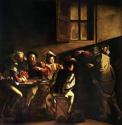 Caravaggio Painting - The Calling Of Saint Matthew by Caravaggio