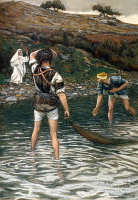 Angling Painting - The Calling Of Saint Peter And Saint Andrew by Tissot