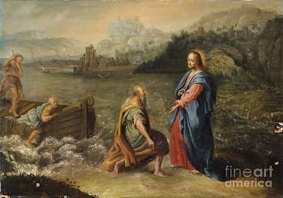 Jesus Boat Painting - The Calling Of Saint Peter by MotionAge Designs