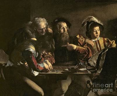 Caravaggio Painting - The Calling Of St. Matthew by Michelangelo Merisi da Caravaggio