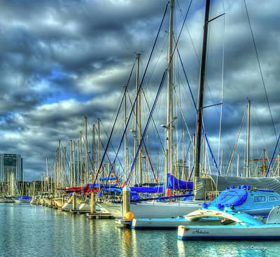 Photograph - The Calm Waters Line Up Ala Wai Harbor Waikiki Yacht Club Hawaii Collection Art by Reid Callaway