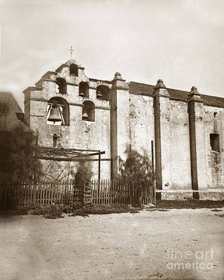 Photograph - The Campanario, Or Bell Tower Of San Gabriel Mission Circa 1880 by California Views Mr Pat Hathaway Archives