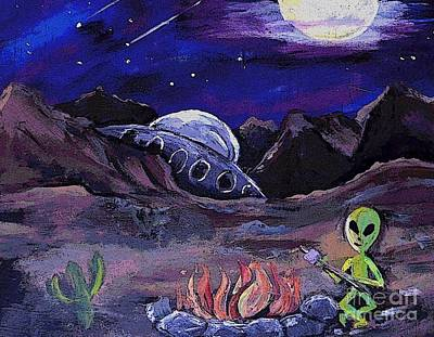 Painting - The Campfire Alien  by Valarie Pacheco