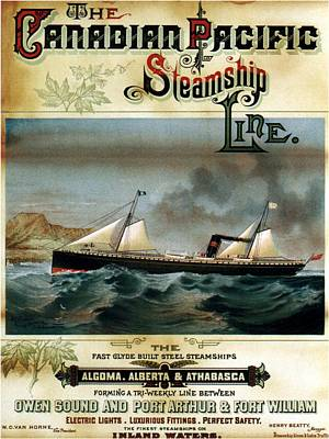 Mixed Media - The Canadian Pacific - Steamship Line - Retro Travel Poster - Vintage Poster by Studio Grafiikka