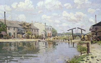 Reflective Painting - The Canal Saint Martin Paris by Alfred Sisley