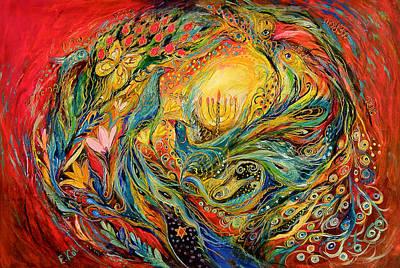 Kabbala Painting - The Candles by Elena Kotliarker