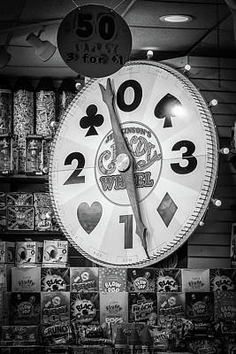 Photograph - The Candy Wheel Point Pleasant Boardwalk Black And White by Terry DeLuco