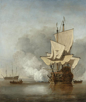 Water Vessels Painting - The Cannon Shot by Willem Van De Velde The Younger