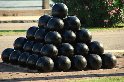 Civil War Cannon Balls Photograph - The Cannonballs At The Battery In Charleston Sc by Susanne Van Hulst