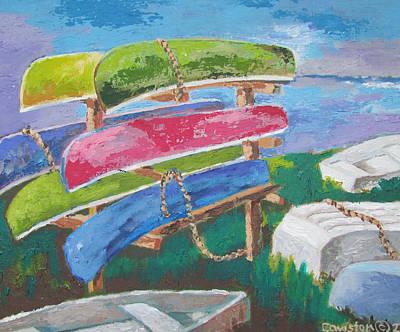 Painting - The Canoe Rack by Tony Caviston