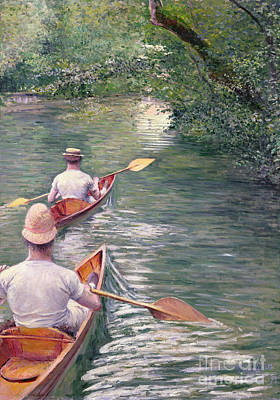 Canoeing Painting - The Canoes by Gustave Caillebotte