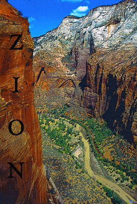 Zion National Park Digital Art - The Canyon Of Zion by David Lee Thompson
