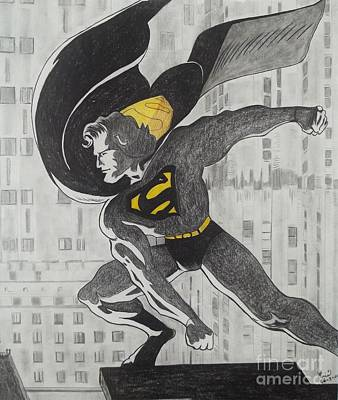 Dc Comics Drawing - The Cap Crusader by Lise PICHE