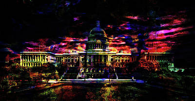 Capitol Building Digital Art - The Capital At Night by Kathy Kelly