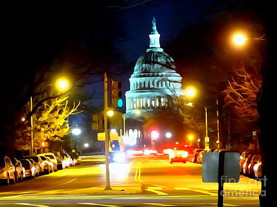 Digital Art - The Capitol At Night by Ed Weidman