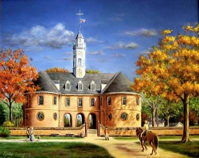 Colonial Williamsburg Painting - The Capitol In Autumn by Gulay Berryman