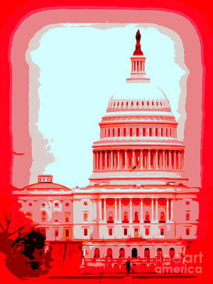 Digital Art - The Capitol In Red by Ed Weidman