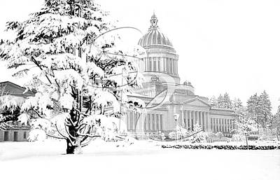 Photograph - The Capitol In Winter 1950 by Merle Junk
