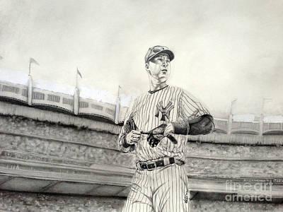 Athletes Drawings - The Captain - Derek Jeter by Chris Volpe