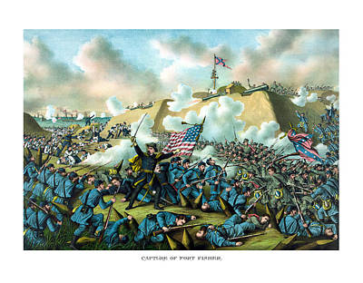 Landmarks Painting Royalty Free Images - The Capture of Fort Fisher Royalty-Free Image by War Is Hell Store