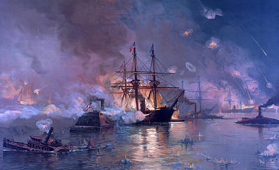 Warships Painting - The Capture Of New Orleans During The Civil War by American School