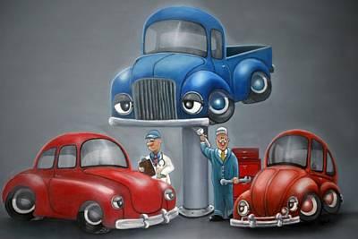 The Car Hospital Art Print by Ofelia  Arreola
