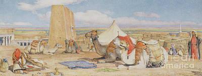 Bedouin Painting - The Caravan, An Arab Encampment At Edfou by John Frederick Lewis