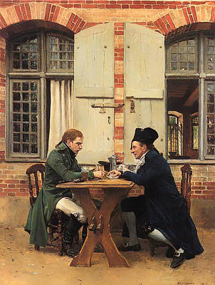 Beer Oil Painting - The Card Players by Mountain Dreams