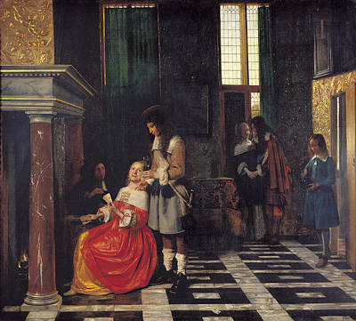 Upper Classes Painting - The Card Players by  Pieter de Hooch