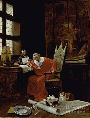 Priest Painting - The Cardinal's Leisure  by Charles Edouard Delort