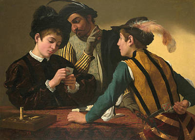16th Century Painting - The Cardsharps  by Caravaggio