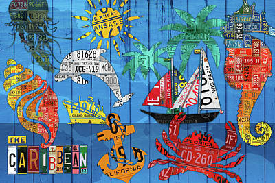 Caribbean House Wall Art - Mixed Media - The Caribbean Beach House License Plate Art Decor Collage by Design Turnpike