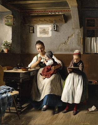 The Caring Mother Art Print by Franz Meyerheim