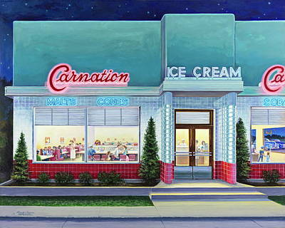 Painting - The Carnation Ice Cream Shop by Randy Welborn