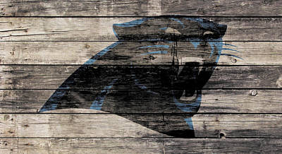 Newton Mixed Media - The Carolina Panthers Wood Art by Brian Reaves