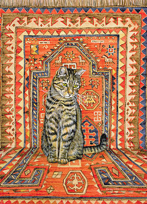 Persian Carpet Painting - The Carpet Cat by Ditz