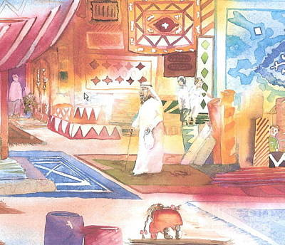 Painting - The Carpet Souk For The Flamingo And The Flying Carpet by Donna Acheson-Juillet