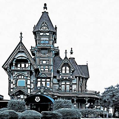 Rendition Drawing - The Carson Mansion by Edward Fielding
