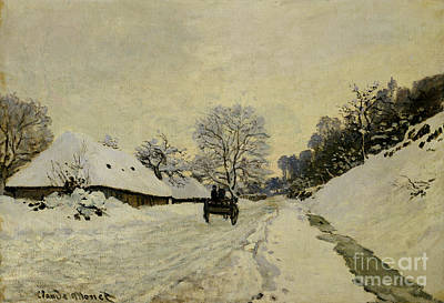 Winter Scene Painting - The Cart by Claude Monet